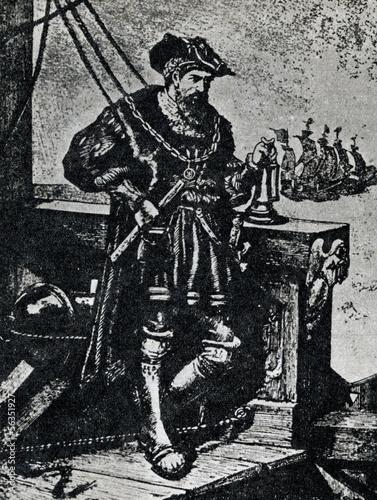 Vasco da Gama on his ship Poster