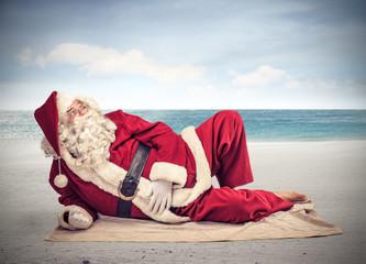 Santa sunbathing