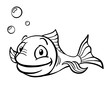Happy black and white cartoon fish with air bubbles. - 56352918