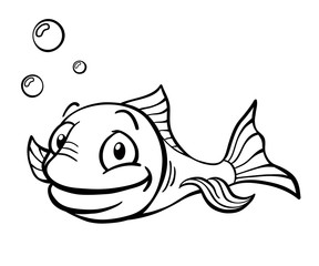 Happy black and white cartoon fish with air bubbles.