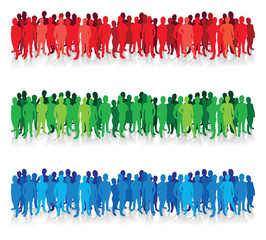 colourful people silhouette background lines