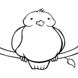 Black and white fat cartoon bird sitting on a branch.