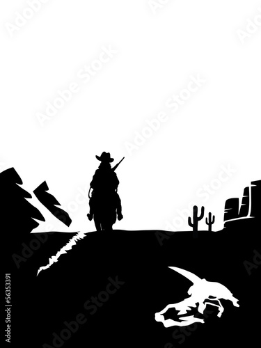 Black and white cowboy on a horse in the desert.