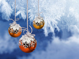 Christmas balls frosty background