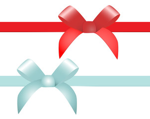 Red and blue vector gift bow and ribbon
