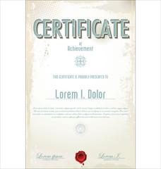 Retro certificate or diploma template, vector illustration