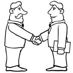 Black and white business men shaking hands in agreement.
