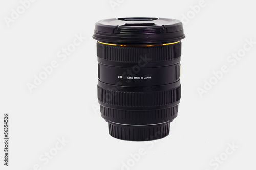 wide angle lens with caps on isolate white background