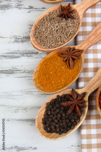 Various spices and herbs on table close up