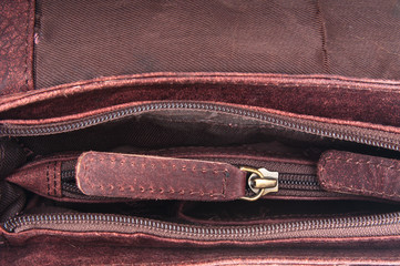 Leather bag and zipper background