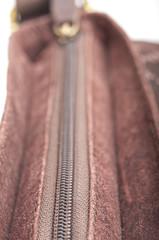 Bag zipper macro. Front focus