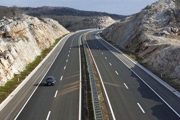 Notch on the highway in the hinterland of town Split in Croatia