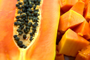 Close up view of papaya fruit