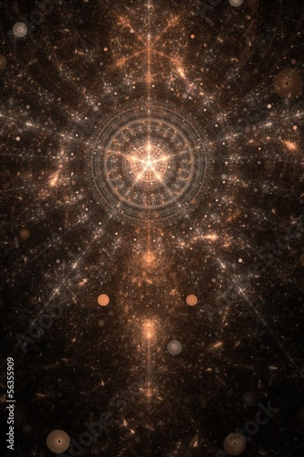 Abstract old alchemic symbol theme, brown on black