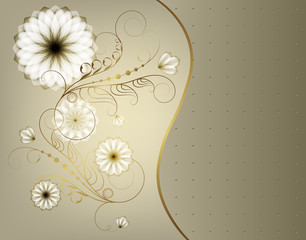 Elegant greeting card with flowers and gold monograms