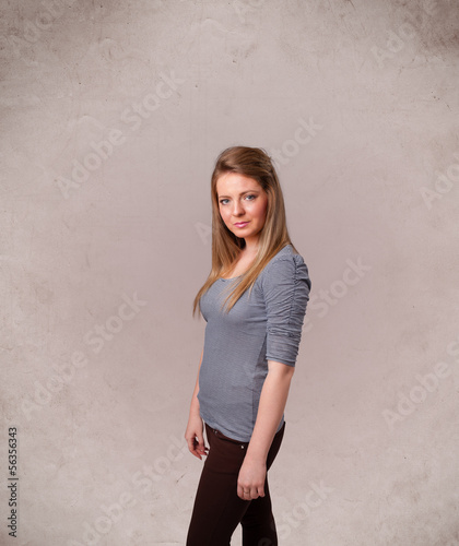 Portrait of a young cute girl with empty copy space