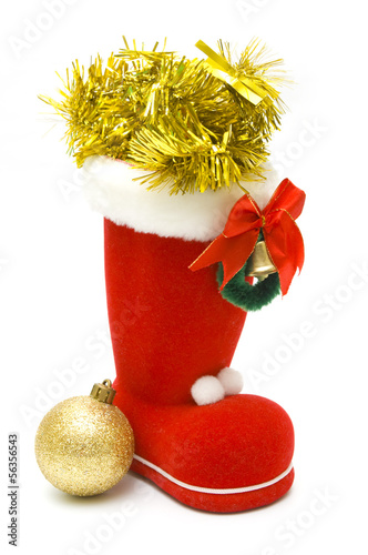 Red christmas boot and decoration