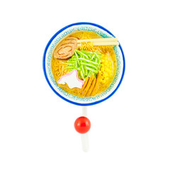 Ramen noodle magnet with hanger isolated on white background