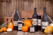 Potion bottles with pumpkins