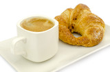 Croissant and a cup of delicous coffee