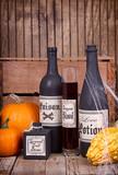 Potion bottles with pumpkins