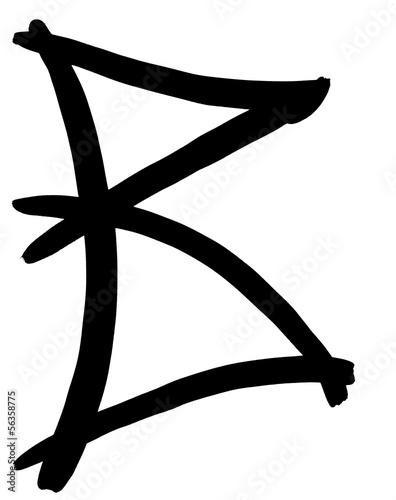 black letter B written by hand