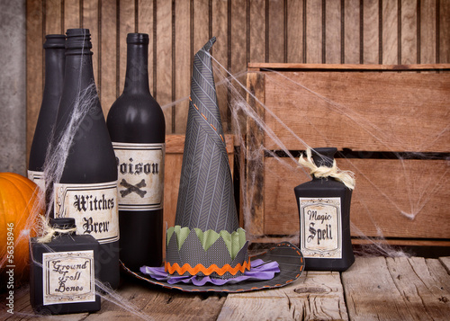 Potion bottles with witched hat