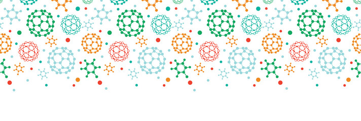 Vector colorful molecules horizontal seamless pattern background