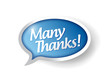 many thanks message bubble illustration design
