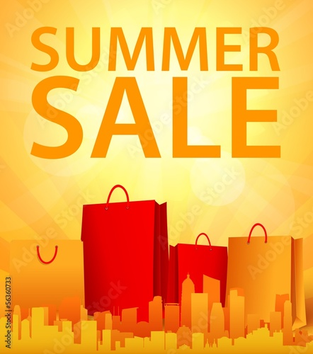 summer sale design with shopping bag