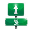 Постер, плакат: find love road sign illustration design