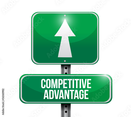 competitive advantage road sign illustration