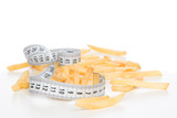 French fries chips meal with tape measure