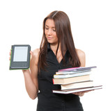 compare woman electronic reading device and books