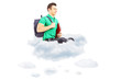 Young male student with schoolbag sitting on clouds and looking