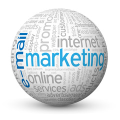 """E-MAIL MARKETING"" Tag Cloud Globe (online web e-advertising)"