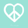 Isolated heart shape peace symbol brush style composition EPS10