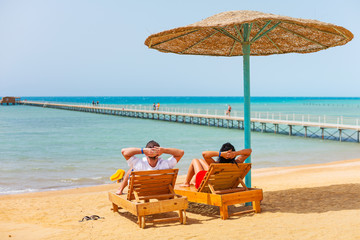Relax on the beach at Red Sea in Egypt