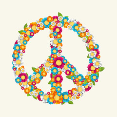 Isolated peace symbol made with flowers composition EPS10 file.