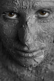 Statuesque woman with fissured skin poster