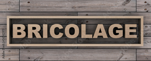 Bricolage on wooden background