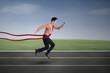 Businessman winning a business race