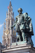 Antwerp - Statue of painter P. P. Rubens and cathedral