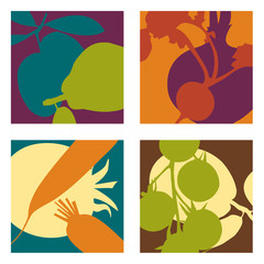 Modern abstract vector fruit and vegetable designs