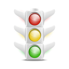 Realistic White Traffic Lights Icon