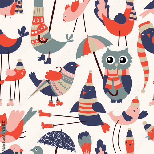 Vector seamless pattern with cute cartoon birds