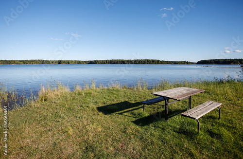 picnic table at lake