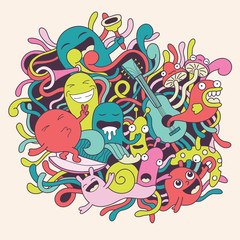 Vector illustration with funny monsters