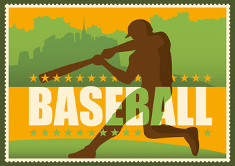 Retro baseball poster in color.