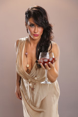 Hot brunette and red wine punch